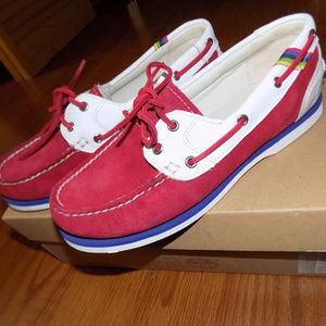 NWT Timberland Classic Boat Shoes Red/White